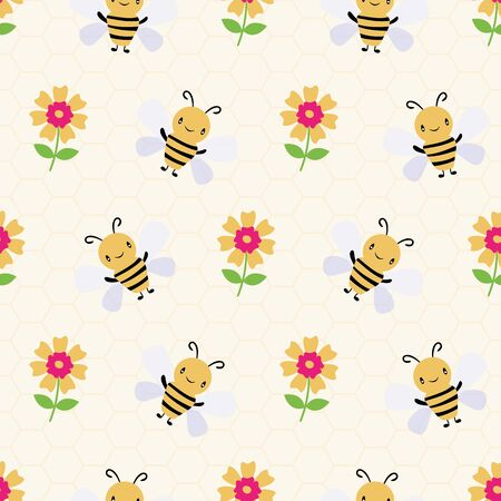Cute cartoon honey bees and flowers on subtle yellow honeycomb background. Seamless vector pattern. Great for kids,baby, garden, kindergarten, school products, stationery, giftwrap.