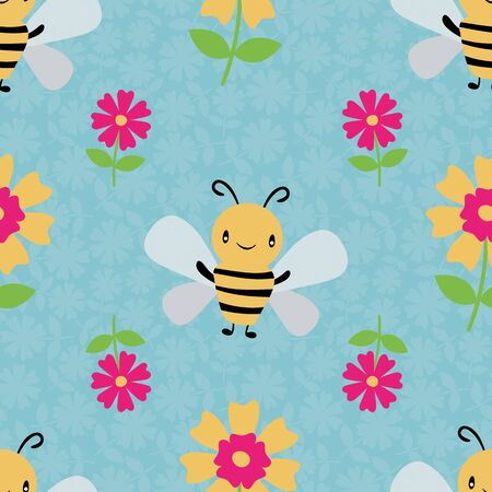 Cute cartoon honey bees and flowers on floral textured sky blue background. Seamless vector pattern. Great for kids,baby, garden, kindergarten, school products, stationery, giftwrap.