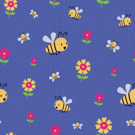 Cute cartoon honey bees and flowers on subtle doodle grid. Seamless vector pattern on deep blue background. Great for kids,baby, garden, kindergarten, school, food products, stationery, giftwrap.