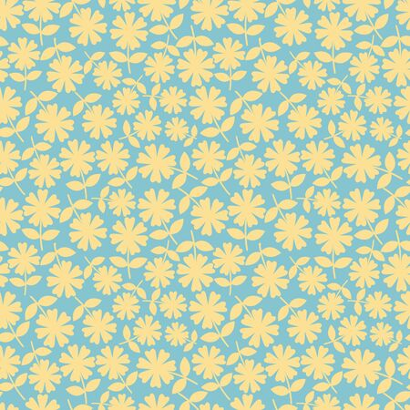 Elegant yelllow flowers in ditsy floral design. Seamless vector pattern on aqua blue background. Great for wellness, beauty, baby, spa, garden products, texture, home decor, stationery. Ilustrace
