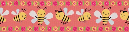 Cute cartoon honey bees and flowers border design on coral and yellow honeycomb background. Seamless vector pattern. Great for kids,baby, garden, kindergarten, school products, stationery, packaging.