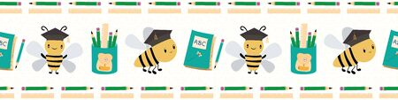 Joli retour à la frontière de l'école avec des abeilles, des livres et des crayons. Modèle vectorielle continue sur fond texturé blanc. Idéal pour les enfants, l'école, l'éducation, les produits d'orthographe, la papeterie Vecteurs