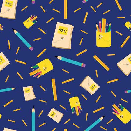 Bright blue and yellow back to school design with pencils, notebooks and rulers. Seamless vector pattern on dark blue background. Great for children, preschool, kindergarten, school , stationery.