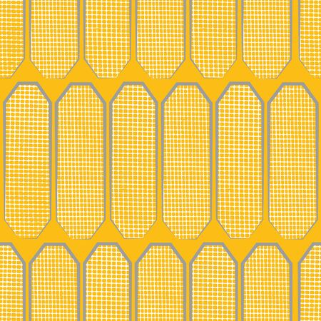 Hand drawn polygon shapes with varied white waffle texture. Seamless geometric vector pattern on saffron yellow background. Great for wellness, cosmetic, food products, packaging, stationery Ilustrace