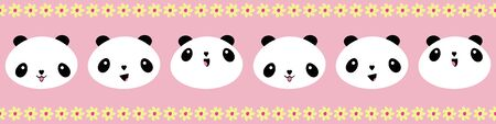 Cute Kawaii style happy pandas border with yellow flower edging. Seamless geometric vector pattern on pink background. Great for children, school, kindergarten, nursery, baby products, stationery  イラスト・ベクター素材