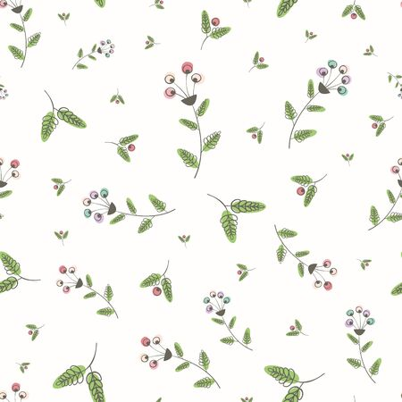 Modern vintage linocut style pink, blue and green flowers and leaves with offset color. Seamless vector pattern on white background. Great for wellbeing, beauty, packaging, fabric, stationery wedding