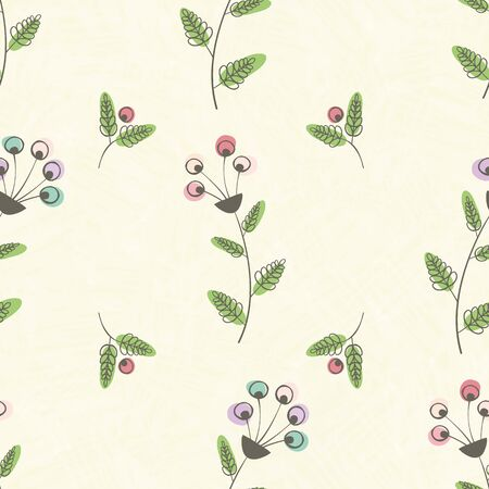 Modern vintage linocut style pink, blue flowers and green leaves with offset color. Seamless vector pattern on yellow colorwash background. Great for wellbeing,packaging, fabric, stationery, wedding.