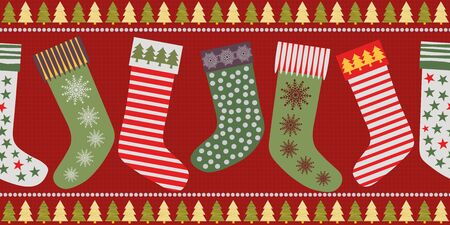 Funky Christmas stocking border design in traditional colors. Seamless vector pattern on textured red background. Great for festive products, giftwrap, scrapbooking, stationery, fabric trim, ribbons.