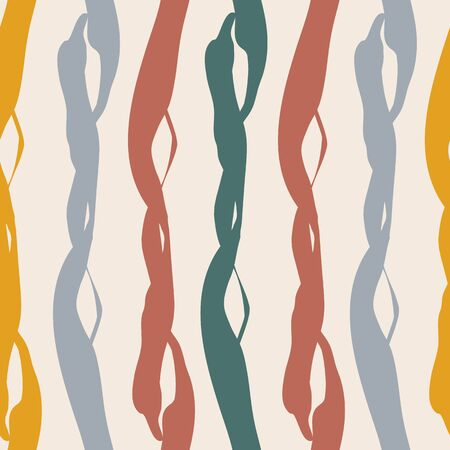 Painterly weave effect vertical stripes in warm tones of teal, red purple and orange. Seamless vector pattern on light background with homespun feel. Great for wellbeing, packaging, graphic design.