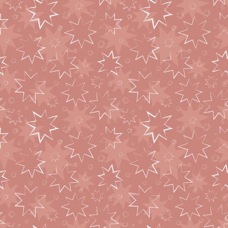Beautiful hand drawn white stars in painterly design. Seamless vector pattern on textured dusky pink background. Perfect for Christmas and winter products, giftwrap,stationery, celebration