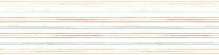 Vector orange, green and yellow grunge striped border. Seamless pattern on cream white background. Perfect for textiles edging, trim, ribbon, washi tape, wallpaper, scrapbooking. swimwear, lining.