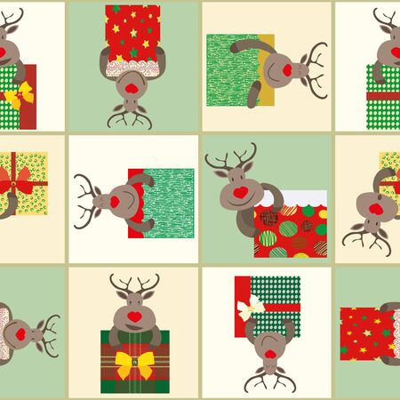 Fun cartoon reindeer in brown, red, green and gold holding presents. Patchwork geometric design. Seamless vector pattern on winter pastel color background. Perfect for Christmas giftwrap, stationery