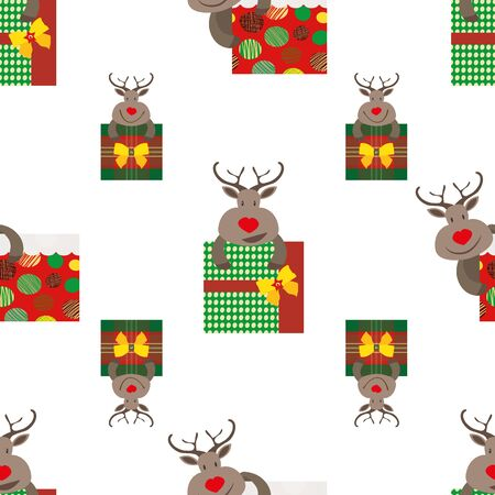 Cute cartoon reindeer hugging presents in red, green and gold color design. Seamless vector pattern on white background. Perfect for Christmas products, giftwrap, stationery, packaging, graphic asset