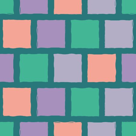Vibrant mosaic style hand painted coral, purple and green tiles. Seamless geometric vector pattern on teal background. Organic, modern style. Great for stationery, giftwrap, packaging, home decor. Illustration