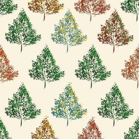 Stylish abstract trees in green, red, and blue fall colours. Seamless vector pattern on cream colored background. Vintage style with a modern twist. Great for fabric, decor, scrapbooking, stationery. 矢量图像