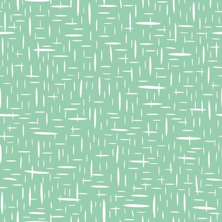 Hand drawn basket weave design in random geometric layout. Seamless vector pattern on mint green background. Great for wellbeing, cosmetic, food products, summer, packaging, stationery, texture.