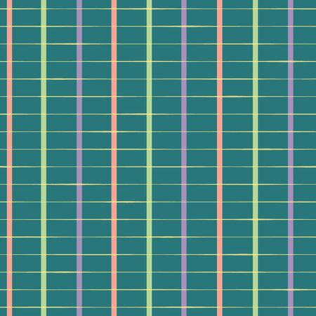 Classic rectangular hand drawn grid in purple, pastel red and green Seamless geometric vector pattern on teal background. Modern vintage style. Great for fabric, stationery, gift wrap, packaging Illustration