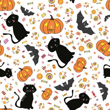 Hand drawn Halloween cats, bats, pumpkins and candy treats. Lively seamless vector pattern on subtle spiderweb white background. Great for giftwrap, party, invitations, products, stationery.