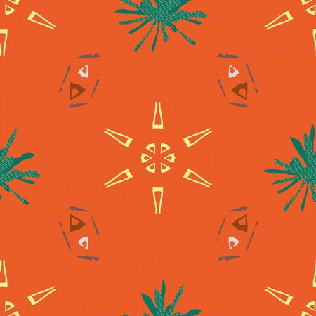 Yellow, teal and earthy brown tribal shapes in geometric design. Seamless vector pattern on orange grid textured background. Great for wellness, home decor, texture, packaging, gifts, scrapbooking
