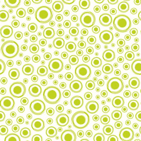 Lime green painterly circles in dense all over print. Seamless abstract vector pattern on cream white background. Retro vibe. Great for wellbeing, drink and summer products,fabric, menus, coordinate