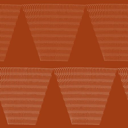 Abstract hand drawn wicker basket design. Seamless geometric vector pattern on earthy red background. Great for wellbeing, spa products, summer, fall packaging, stationery, texture, concept