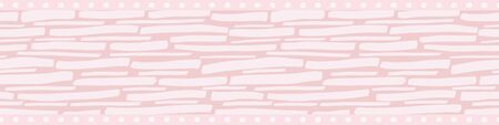 Hand drawn pastel pink and white wicker weave border design with polka dot edging Seamless vector pattern on teal. Great for ribbon, washi tape, trim, scrapbooking, fabric, stationery, partyware