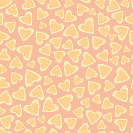 Scattered hand drawn doodle hearts in pastel yellow, pink and orange with loose scalloped edging. Seamless vector pattern on pink background. Great for summer products, packaging, stationery.