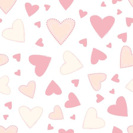Soft pink pastel and peach coloured decorative hand drawn hearts. Loose scattered design. Seamless vector pattern on white background. Great for wellness, summer, baby, wedding products, stationery