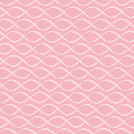 Modern doodle ornamental white entwined cord. Hand drawn irregular feel. Seamless geometric vector pattern on pink background. Great for summer, baby, wedding products, packaging, stationery, texture