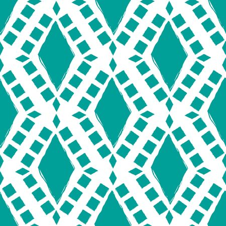 Teal and white diamond mosaic style pattern background. Seamless geometric vector design. Irregular painterly effect. Great for wellness, summer, sport products, packaging, home decor, stationery