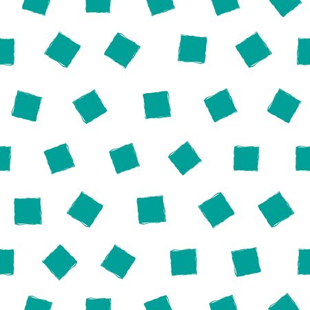 Vector turquoise hand drawn painterly squares with irregular edges in multidirectional design. Loose seamless pattern. Great for wellness, spa, sport products, packaging, home decor, stationery Ilustração