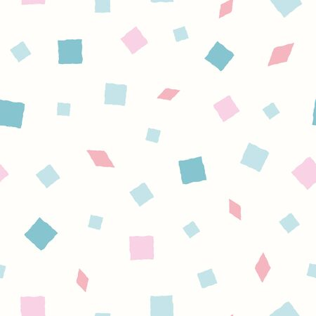 Vector hand drawn pink and blue squares and diamond shapes on pastel yellow background. Funky seamless pattern. Great for wellness, party, products, packaging stationery, home decor, texture
