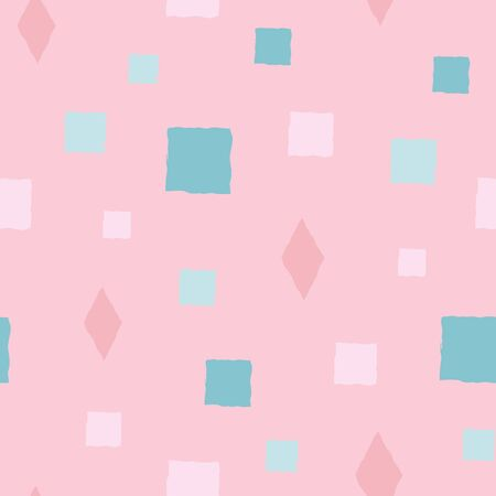 Cute vector hand drawn squares and diamond shapes in blue, teal and pink background design. Seamless pattern. Great for wellness, party, girl products, packaging stationery, home decor, texture