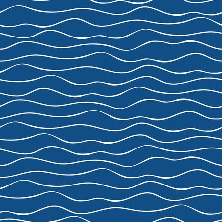 Vector abstract hand drawn white doodle ocean waves. Seamless geometric pattern on navy blue background. Great for marine, nautical themed products, spa, wellness, beauty, stationery, giftwrap 向量圖像