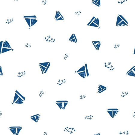 Vector stencil style navy blue sailing boats and sets of anchors in all over print design. Seamless pattern on white background. Great for sport, nautical, summer products,vacation, fabric, packaging
