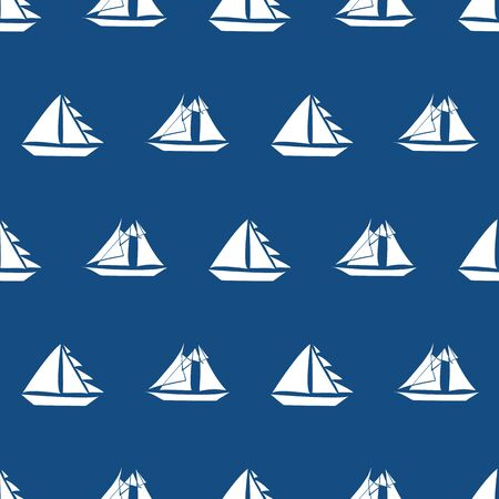 Fun hand drawn white sailing boats of different sizes in geometric design. Seamless vector pattern on navy blue background. Great for nautical themed products, sport, vacation, stationery, packaging