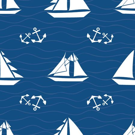 Vector hand drawn white sailing boats and sets of anchors. Seamless geometric pattern on navy blue background. Great for nautical themed products, sport, vacation, stationery, packaging, graphic use