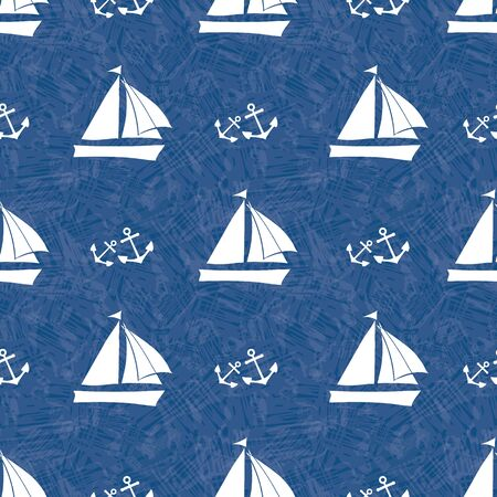 Stencil style vector white sailing boats and sets of anchors. Seamless pattern on navy blue background with watercolor texture . Ideals for marine, summer products, sport, vacation, stationery