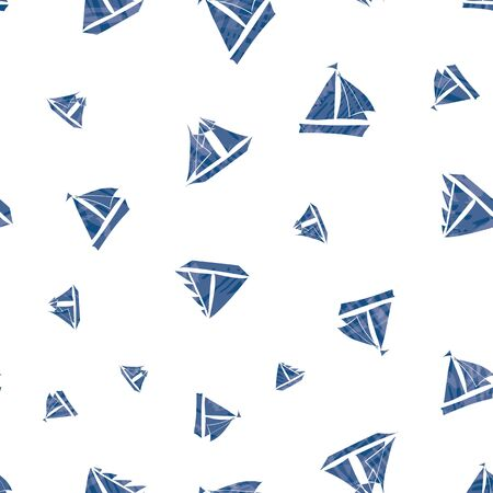Three types of vector hand-drawn navy blue sailing boats with watercolor texture marine themed design. Seamless pattern on white background. Great for water sport, summer products, fabric, packaging.