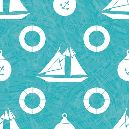 Vector hand drawn white sailing boats, anchors and life buoys on aqua watercolor effect background. Seamless geometric pattern For marine, sailing, summer products, sport, vacation, packaging, fabric Ilustracja
