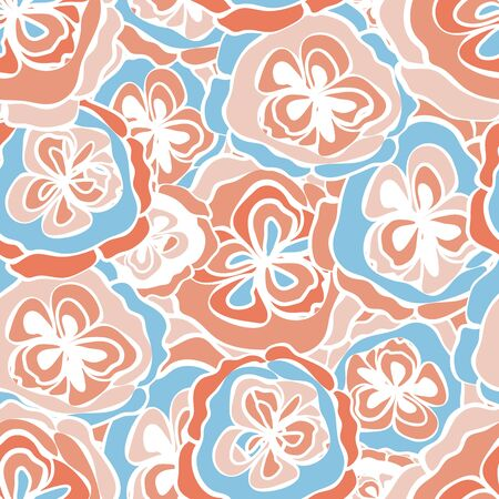 Abstract vector pastel pink, orange, white and blue floral design. Modern seamless pattern with dense overlapping flowers. For wellness, summer, spring products, fabric, stationery, concept