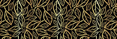 Gold foil and bronze leaves textured border. Seamless vector design on black background. Elegant design with modern hand drawn touch for packaging, invitations, stationery, web banner, trim, ribbon