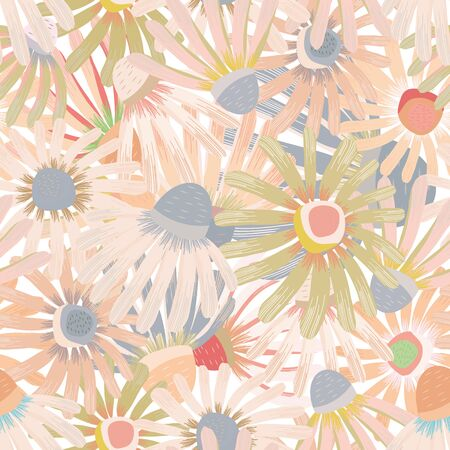 Vector flower wall in pastel hues of pink seamless pattern background. Hand painted echinacea flowers dense texture design. For summer, spring, cosmetic products, packaging, stationery, fabric