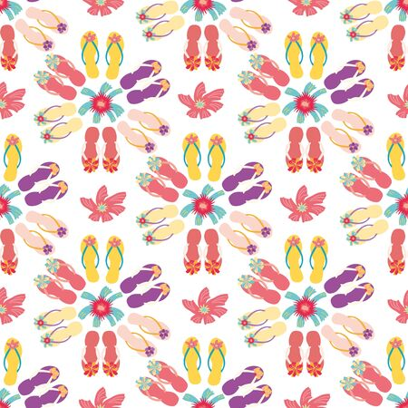 Pretty flip flop shoe seamless vector pattern background. Hand drawn girly sandals and tropical hibiscus. Hot summer illustration all over print for vacation resort concept.