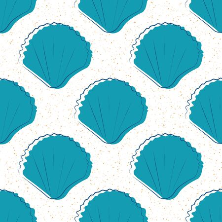 Sea shells on sand seamless vector pattern. Hand drawn line art. Minimal mollusc repeat beach scene backdrop. Aquatic illustration all over print for coastal living and summer vacation concept.