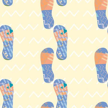 Flip flop shoe vector seamless pattern background. Modern Memphis style sandals on zig zag motif backdrop. Geometric design. Hot summer beach illustration all over print for vacation resort concept.