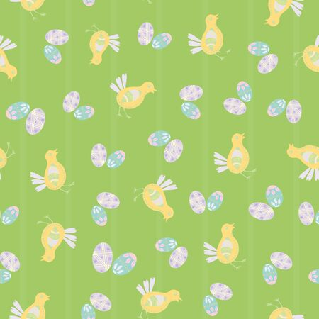 Easter chick seamless vector pattern background. Cute decorated folk art bird and eggs illustration. Scandinavian style baby chickens and spring symbols backdrop. Christian lent celebration concept.