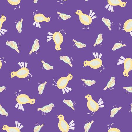 Baby chick seamless vector pattern background. Decorated bird folk art illustration. Scandinavian style baby chickens on purple lent backdrop. Avian all over print. Christian Easter festival concept.