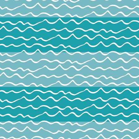Wavy lines seamless vector pattern background. Hand drawn uneven doodle style dense sea waves backdrop. Abstract marine geometric stripe all over print. For water, ocean, Caribbean vacation concept.