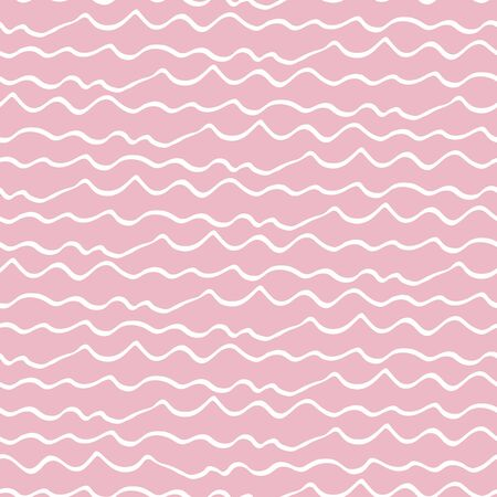 Wavy lines seamless vector pattern background. Irregular doodle style horizontal stripe backdrop. Hand drawn illustration. Pink linear geometric all over print. Tropical beach vacation resort concept